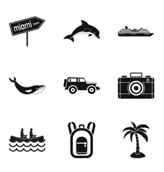 beach ride icons set simple style vector image vector image