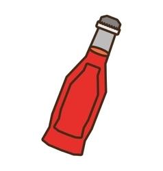 Bottle soda red liquid glass vector