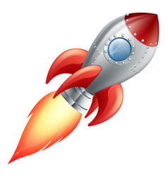 cartoon rocket space ship vector image vector image