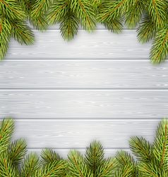 Christmas Tree Pine Branches Like Frame on Wooden vector image