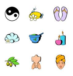 sauna icons set cartoon style vector image