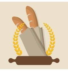 breakfast cooking roller baguettes badge laurel vector image