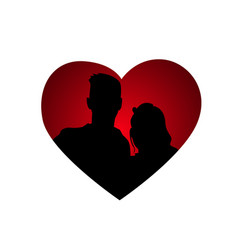 couple silhouettes in heart shape icon isolated vector image