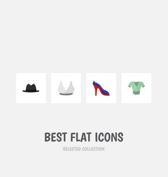 flat icon clothes set of heeled shoe panama vector image vector image