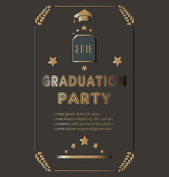 grad 2018 festive poster on bubbly background vector image vector image