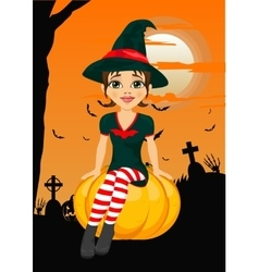 Halloween party with cute witch sitting on pumpkin vector image