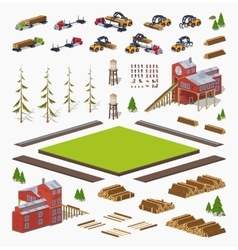 Lumber mill construction set vector image vector image