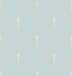 seamless pattern with dragonflies white vector image