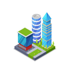 urban street with houses isometric 3d icon vector image