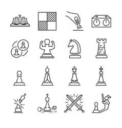 chess line icon set vector image