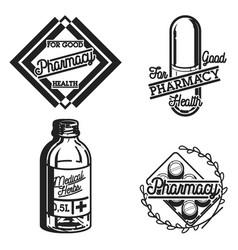 color vintage pharmacy emblems vector image vector image