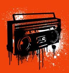 Graffiti stencil boombox vector