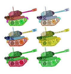 set tanks hippie colors vector image