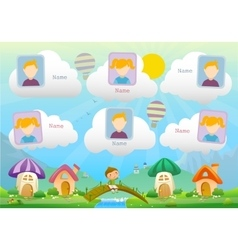 Yearbook about boy with book and fairy landscape vector image vector image