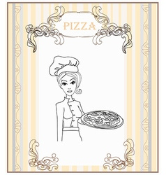 Young waitress with pizza doodle vector image vector image