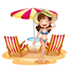 A girl in front of the umbrella with chairs vector image