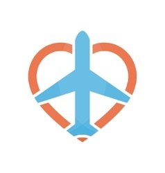 Airplane and heart logo design template vector
