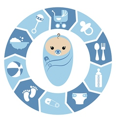 Baby boy shower cartoon design vector