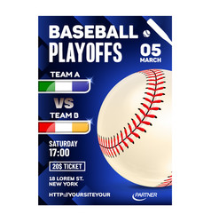 baseball stitched ball typography poster vector image