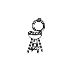 Bbq grill hand drawn sketch icon vector