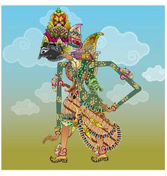 Betara indra shadow puppet character vector
