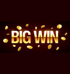 Big win gambling games banner with big win vector