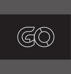 black and white alphabet letter go g o logo vector image