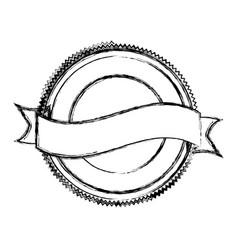 Blurred silhouette heraldic circular shape stamp vector