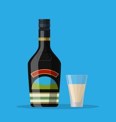 Bottle of chocolate coffee cream liquor vector