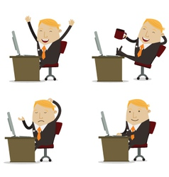 Businessman on computer vector image