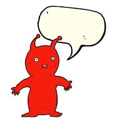 Cartoon happy little alien with speech bubble vector