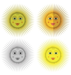 Cartoon Sun Icons vector image