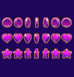 cartoon violet heart coin and star turn-based vector image