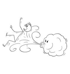 Cartoon wind blowing a man away vector