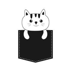 Cat in the pocket Cute cartoon kitten contour vector image
