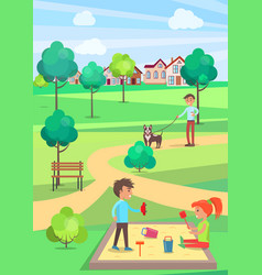 Children playing in sandbox and man walking dog vector