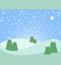 Christmas winter scene landscape vector