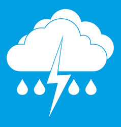 Cloud with lightning and rain icon white vector