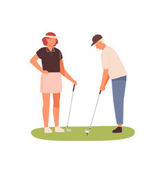 couple adults playing golf together woman vector image