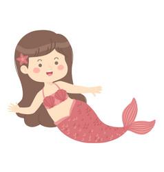 cute mermaid red cartoon vector image