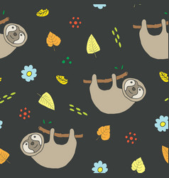 cute sloth seamless pattern cartoon hand drawn vector image