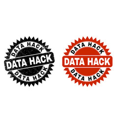 Data hack black rosette seal with corroded surface vector