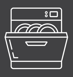 Dishwasher line icon kitchen and appliance vector