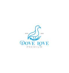 Doves or pigeon bird on nest minimalist line logo vector