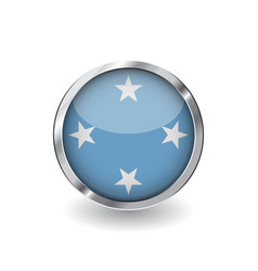 flag of micronesia button with metal frame and vector image