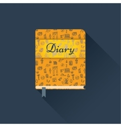Flat diary with a pattern vector