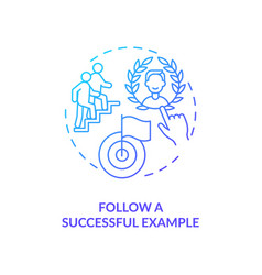 Follow successful example navy gradient concept vector