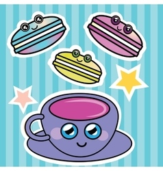French macaroon and a cup of coffee vector image vector image