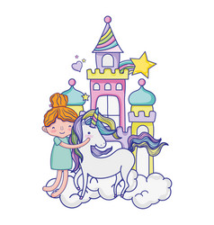 Girl hugging unicorn in the castle with clouds vector
