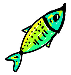 green fish on white background vector image